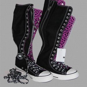 Converts all star knee high leopard print shoes